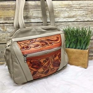 Artisan Taupe Beige Floral Embossed Leather Bag